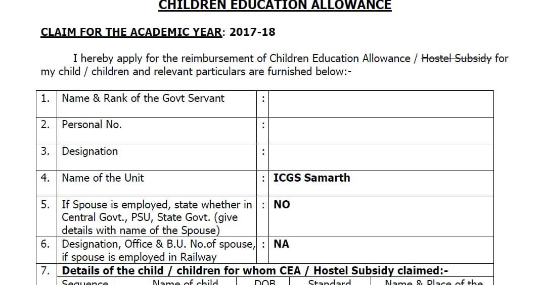 Th Cpc Children Education Allowance Guidelines And Sample Of Claim