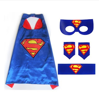 Superhero Superman Costume Cosplay Cape mask wrist belt set dress up for kids