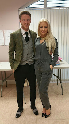 Laura Lacole and Eunan O'Kane in suits for court date