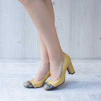 Pantofi dama Piele Gabriele galbeni cu toc gros • modlet