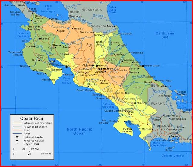 Gambar Peta Kosta Rika