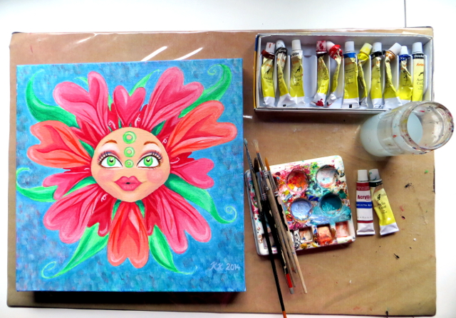 matryoshka doll face flower acrylic painting