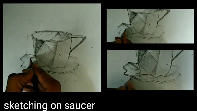 Step by step tutorials for to draw saucer , realistic Drawing