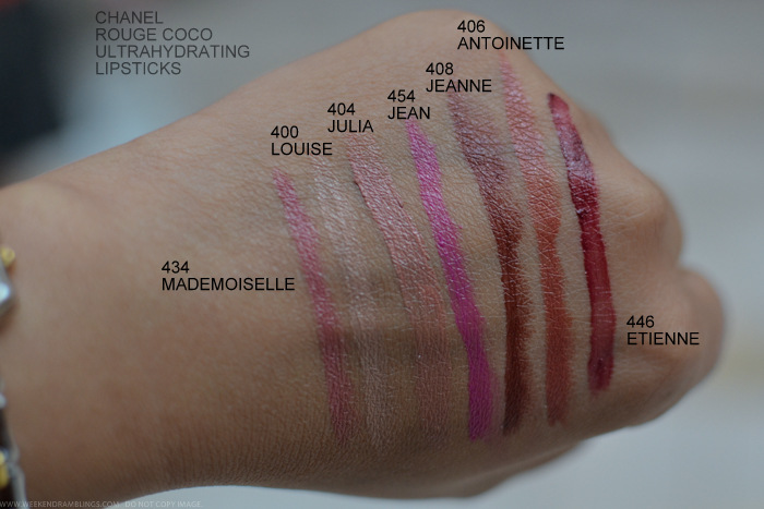 Chanel Rouge Coco Lipsticks Swatches 434 Mademoiselle 400 Louise 404 Julia 454 Jean 408 Jeanne 406 Antoinette 446 Etienne