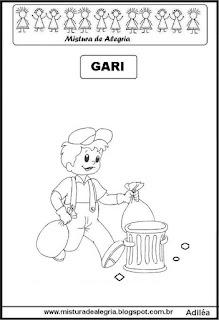 Desenho de gari para colorir
