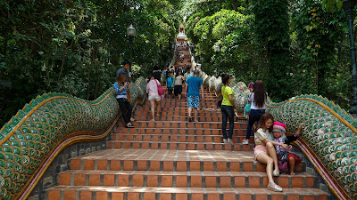 Climbing the 300+ steps of the Naga staircase to get to Wat Phra That Doi Suthep
