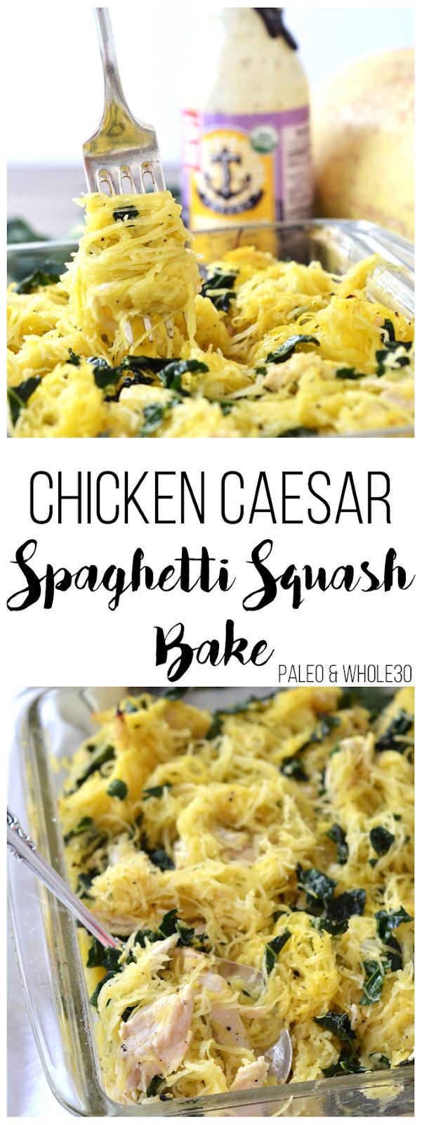 Chicken Caesar Spaghetti Squash Bake