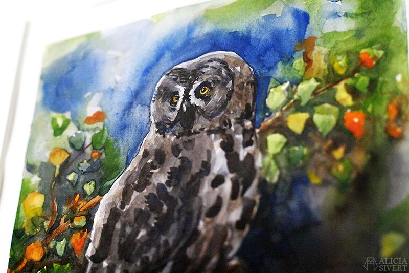 Great grey owl watercolour by Alicia Sivertsson. lappuggla strix nebulosa aliciasivert alicia sivert akvarell aquarelle water color water colour watercolor owl uggla måla målning painting konst art