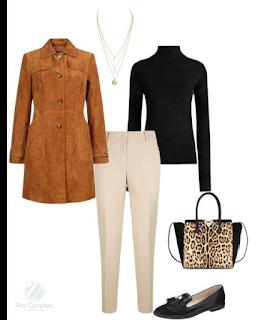 Sugestão de coordenado para trabalhar: Calças cigarette beges, camisola gola alta preta, casaco comprido camel, sapatos rasos pretos e mala de mão animal print