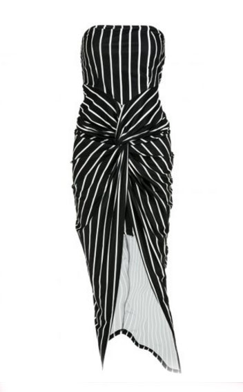 Striped High Slit Strapless Bodycon Dress - Black Rosegal