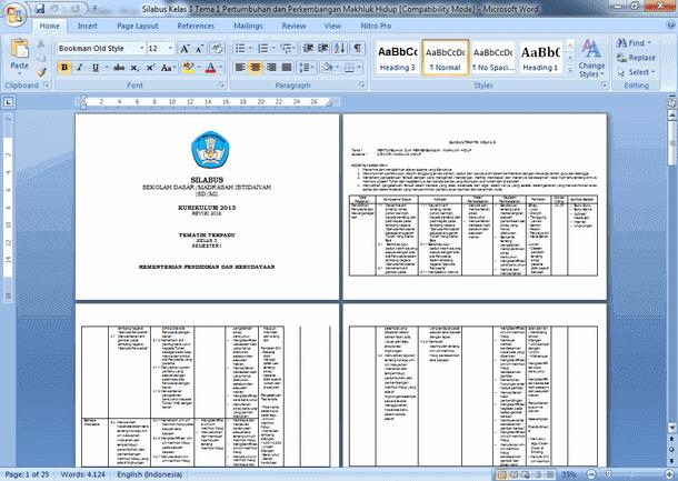 Silabus Kelas 3 SD MI Kurikulum 2013 Tematik Terpadu Revisi 2018