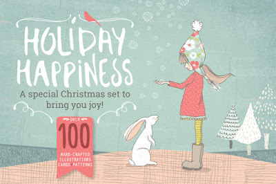 Holiday Happiness digital graphics bundle by Lisa Glanz on Creative Market