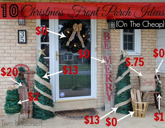 10 Christmas Front Porch Ideas {On The Cheap}
