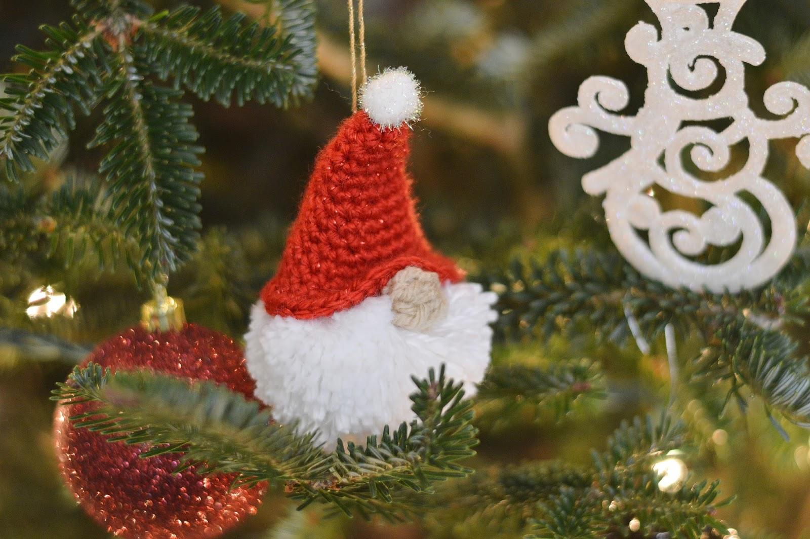 With Alex Puffball Gnome Ornament Free Crochet Pattern