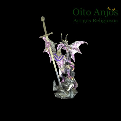 Imagem Estátua Dragão com Espada Resina - Oito Anjos Artigos Religiosos e Esotéricos - Loja Esotérico