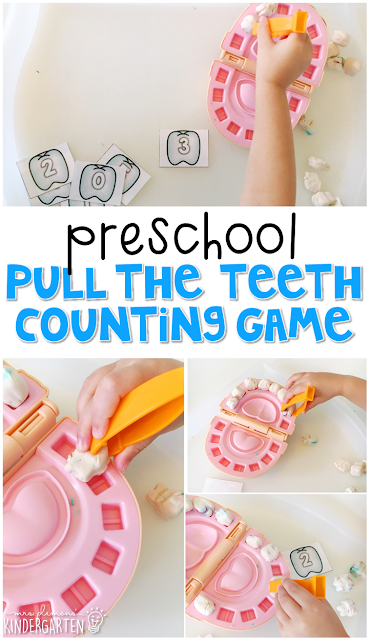 This pull the teeth game is a super fun way to practice number identification, counting, and fine motor skills with a dental health theme. Great for tot school, preschool, or even kindergarten!