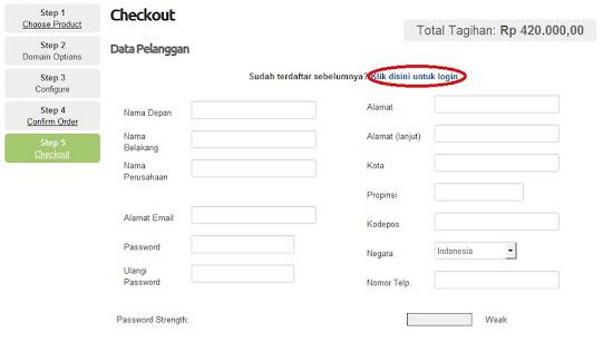 klik login untuk pelanggan lama
