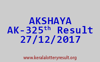 AKSHAYA Lottery AK 325 Results 27-12-2017