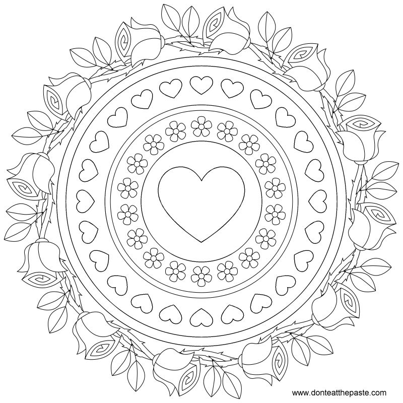 Don 39 t eat the paste roses and forget me nots mandala to color for Adult coloring pages mandala