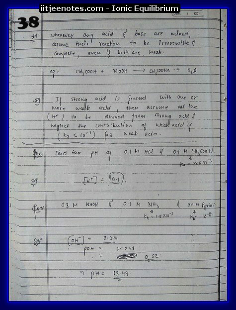 Ionic Equilibrium Notes IITJEE 6
