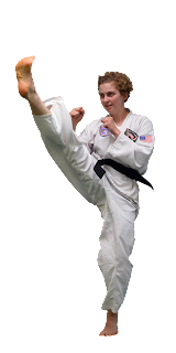 A Black Belt Teenage Girl Performing a Front Kick