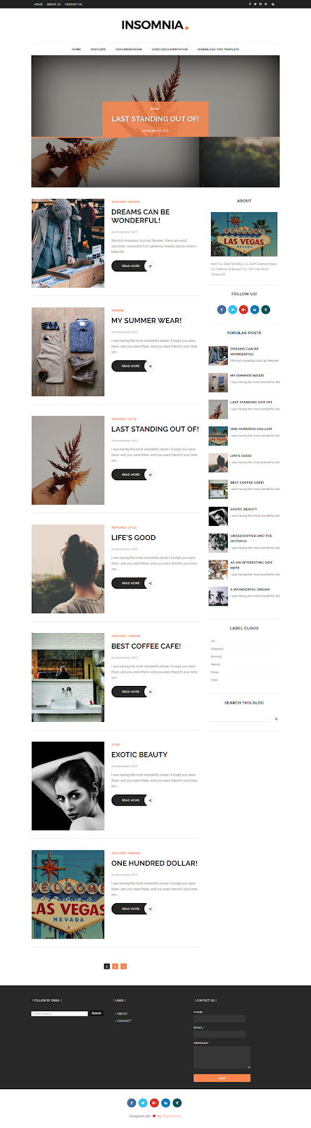 Insomnia Simple Blogger Template