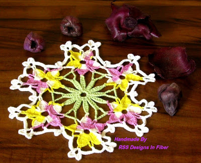 Spring Flower Doily - Garden Violas - Handmade By RSS Designs in Fiber