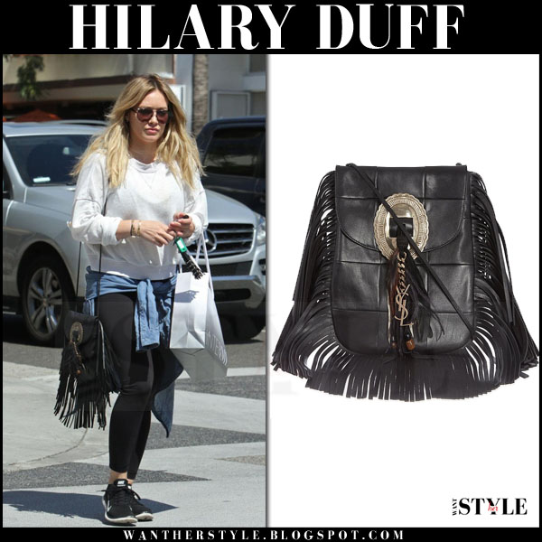Hilary Duff with black fringed Saint Laurent Anita bag what she wore streetstyle
