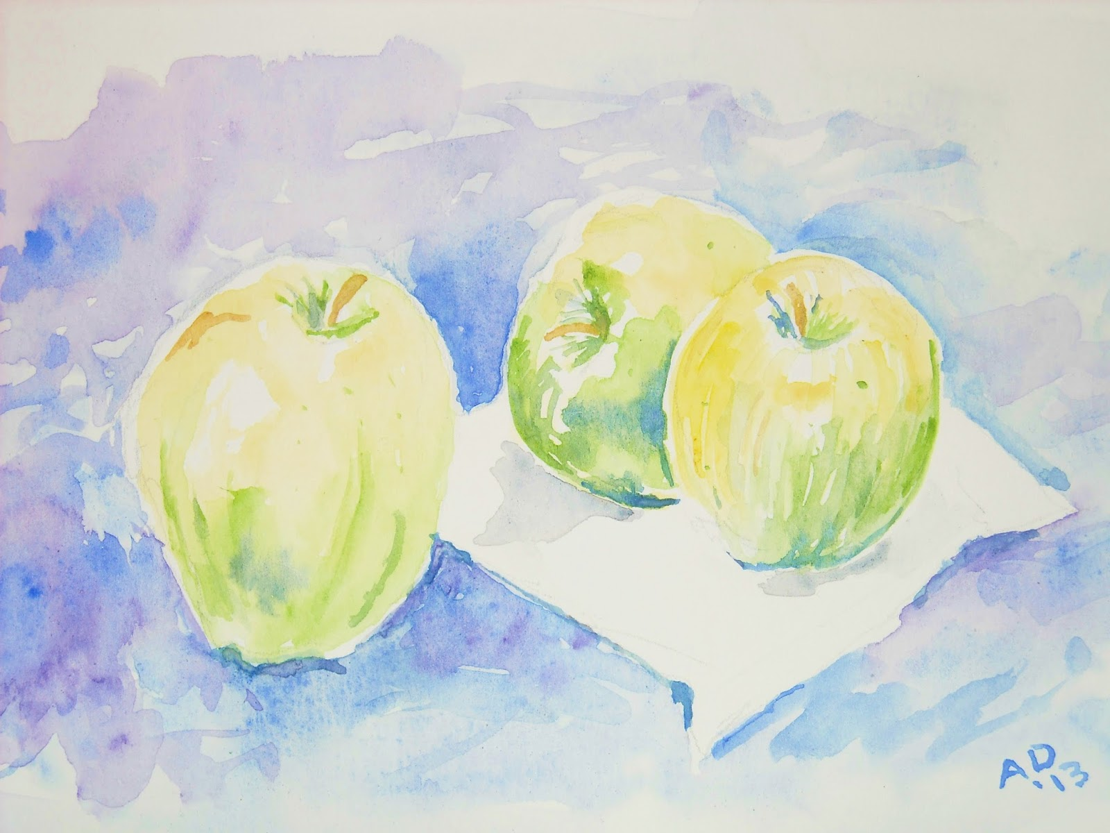 Artist Adron Watercolor Sketch Of Three Apples