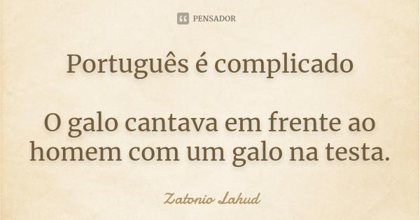 Português é complicado O galo cantava em frente ao homem com um galo na testa.