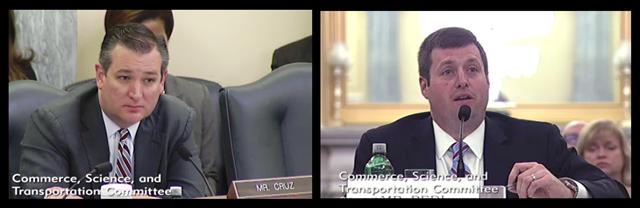 Photos of U.S. Senator Ted Cruz and NTIA Administrator David Redl at the Senate Commerce Hearing on June 8, 2017