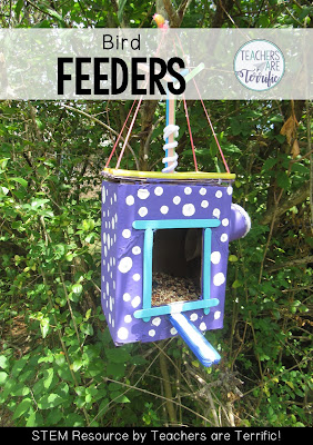 STEM Challenge: bird feeders with perches for the birds to sit on and little spouts to use when pouring in the seeds.