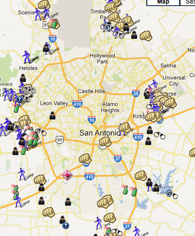 SpotCrime - The Public's Crime Map: Bexar County, TX is on ... on colorado crime map, nevada crime map, arizona crime map, spokane crime map, alabama crime map, georgia crime map, harrisburg crime map, florida crime map, tucson crime map, texas crime map, utah crime map, dc crime map, burlington crime map, augusta crime map, los angeles county crime map, iowa crime map, lima crime map, sacramento crime map, jersey city crime map, baton rouge crime map,