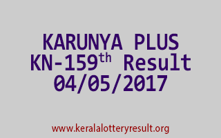 KARUNYA PLUS Lottery KN 159 Results 4-5-2017