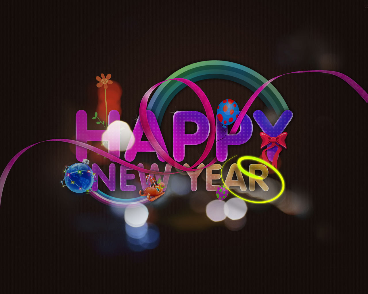 Wallpapers for New Year and Christmas. 1280 x 1024.Happy New Year Letterhead Free 2010