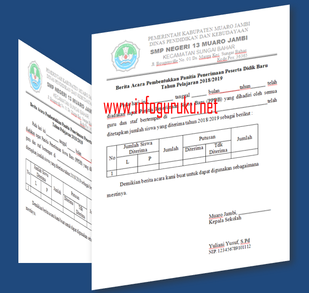 Contoh Administrasi Pelaksanaan Ppdb Tahun 2018 Infoguruku