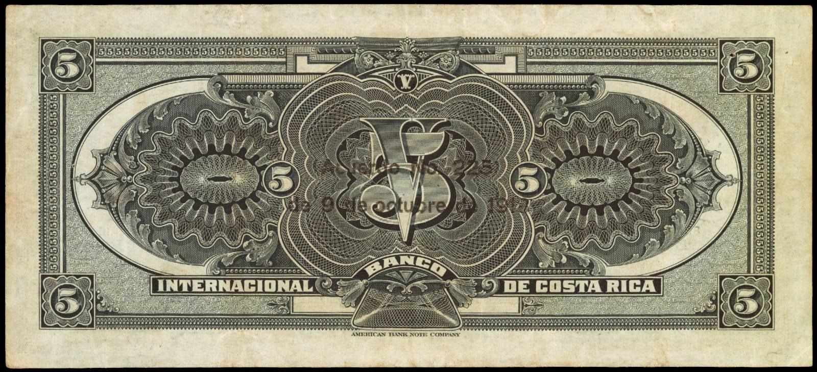 Costa Rica 5 Colones banknote 1918 Banco Internacional de Costa Rica