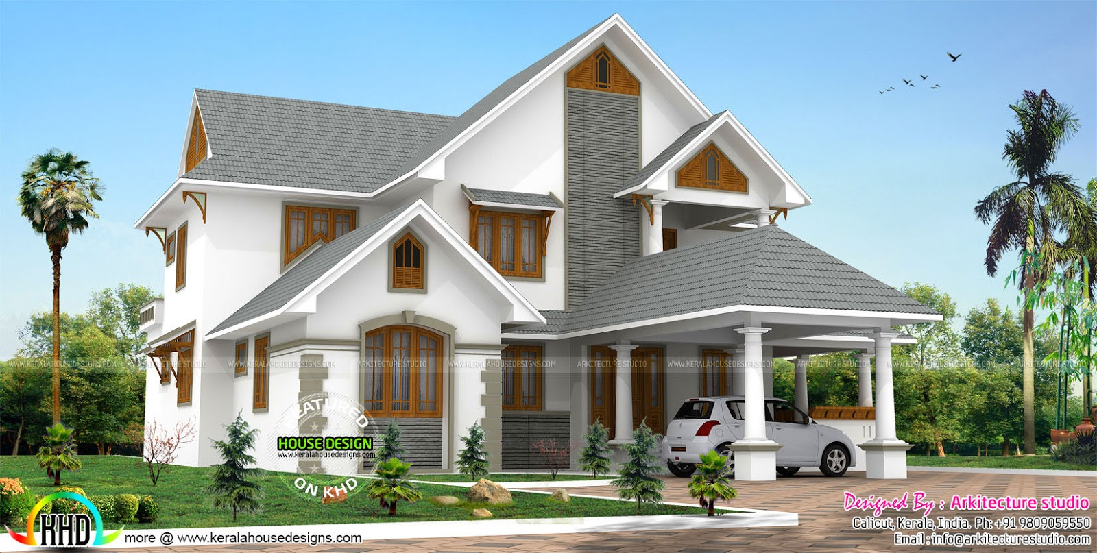 Sloping roof traditional style luxury home kerala home design and floor plans - Traditional houses attic ...