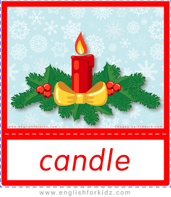 Christmas candle, Christmas vocabulary flashcards