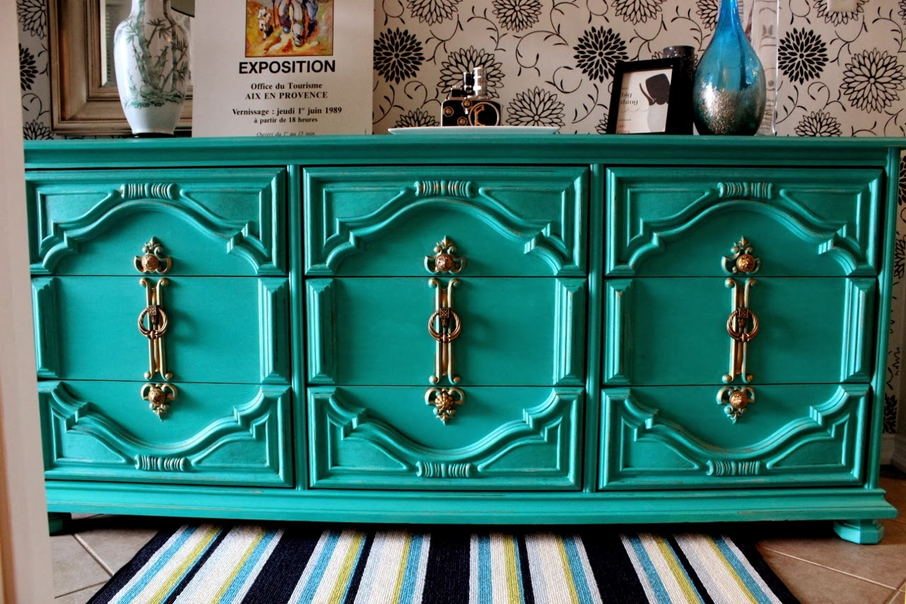painted dresser emerald green diy chalkpaint