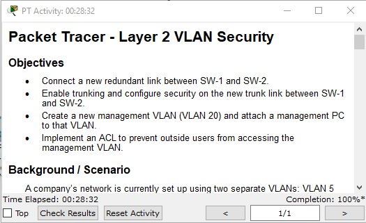 Practica 2: Packet Tracer - Layer 2 VLAN Security
