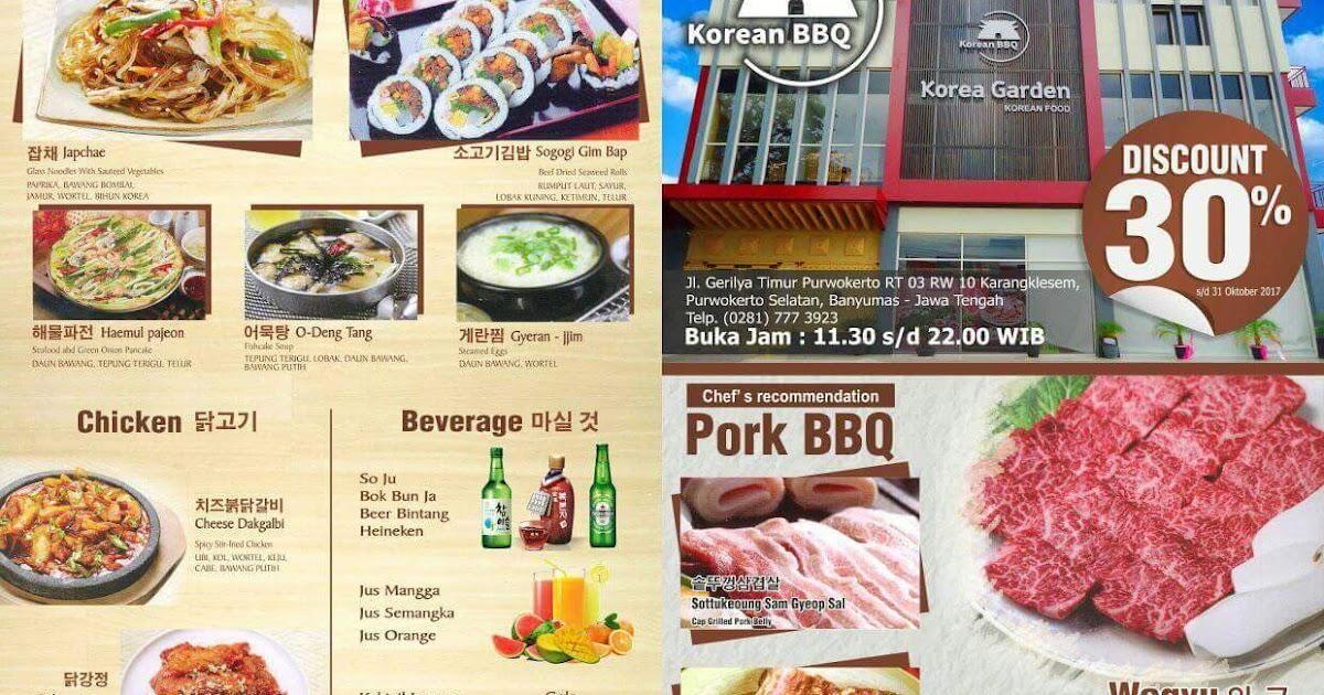 Korea Garden Restaurant Purwokerto Korea Garden Diskon 30 Loh