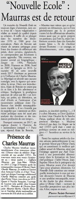 Charles Maurras Présent Nouvelle Ecole 66