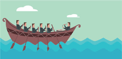 a graphic of 5 oarsmen (plus their coxswain) all rowing in the same direction the way project teams should work
