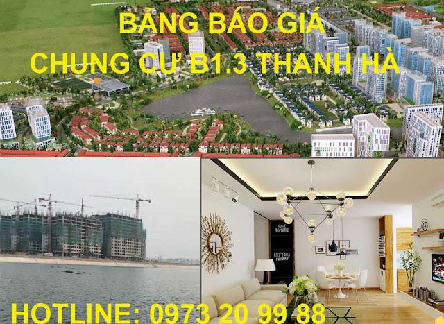 Bảng báo giá chung cư B1.3 Thanh Hà tòa T1 Mường Thanh