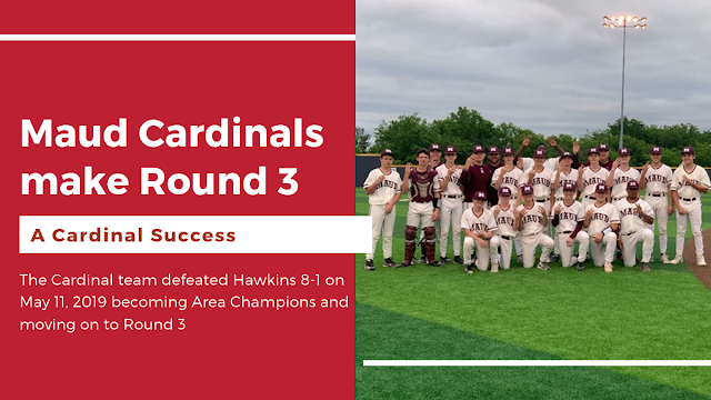 Maud becomes Area Champion and moves to Round 3 as Cardinals beat Hawkins 8-1