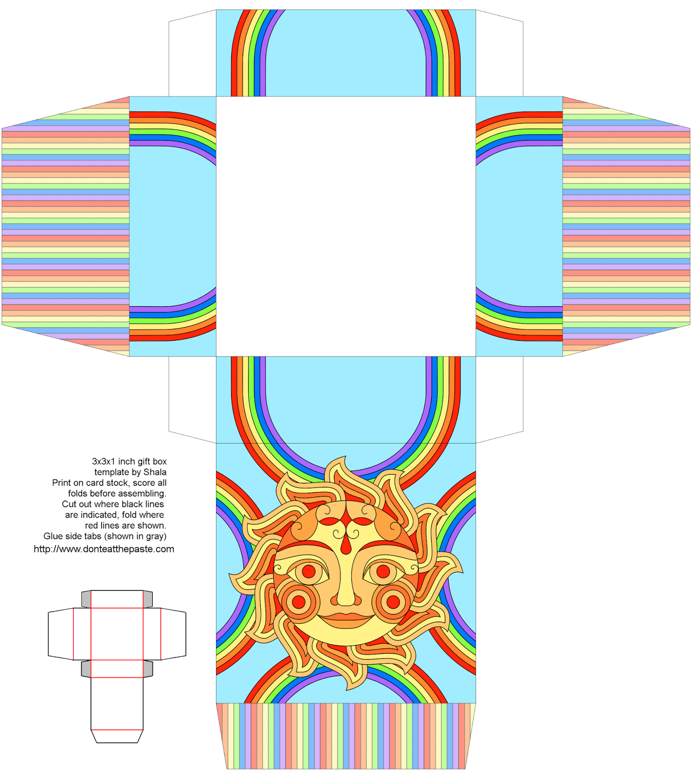 Printable groovy sun box #gifts #papercrafts #rainbows