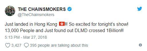 老煙槍雙人組在推特上面說抵達香港以及單曲達到10億瀏覽人次