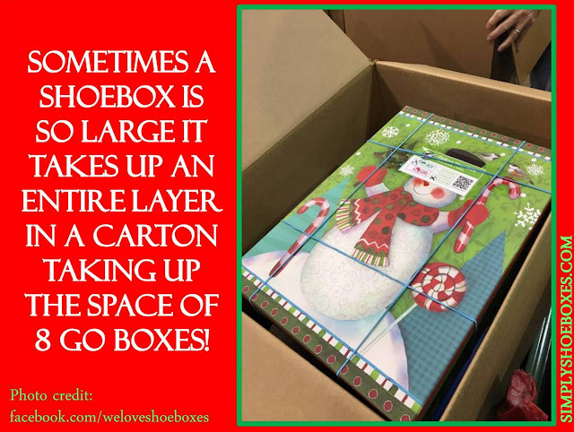 Boot boxes used for Operation Christmas Child shoeboxes