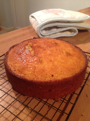 orange and almond cake fresh from the oven